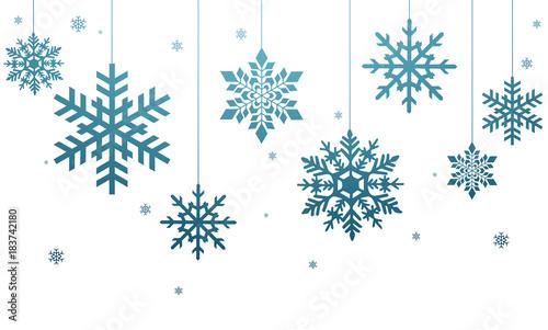 Fototapeta Niebieskie płatki śniegu na białym tle obraz