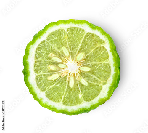 bergamot on white background. with chadow and clipping path. Canvas Print