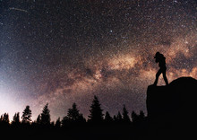 Silhouette Nature Photographer With Digital Camera, Background Of The Milky Way Galaxy On A Bright Star Dark Sky Tone