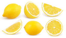 Lemon Isolated On White Background. Collection.