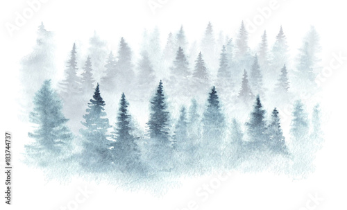 Tuinposter Aquarel Natuur Winter forest in a fog painted in watercolor.