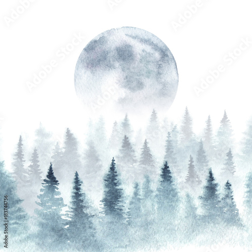 Poster Watercolor Nature Landscape of a winter forest and rising moon. Trees are dissapearing in a fog. Watercolor illustration.