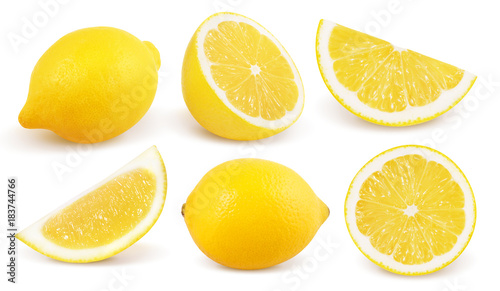 Papel de parede Lemon isolated on white background. Collection.