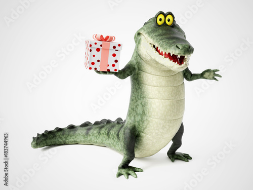 3D rendering of a cartoon crocodile holding a gift. Poster Mural XXL