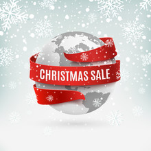 Christmas Sale, Earth Icon Wit...