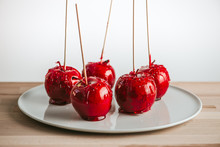 Candied Apples On Stick On Pla...