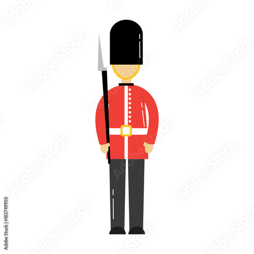 Fotografía cartoon soldier of a queen guard royal in traditional uniform vector illustratio