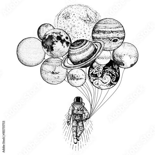 astronauta kosmonauta. planety w Układzie Słonecznym. astronomiczna przestrzeń galaktyki. kosmonauta odkrywa przygodę. grawerowane ręcznie rysowane w starym szkicu. księżyc i słońce i ziemia, mars i Wenus, balony.