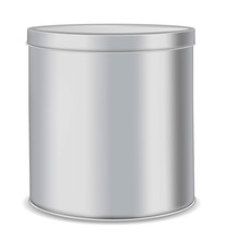 Round Metal Can For Food, Cook...