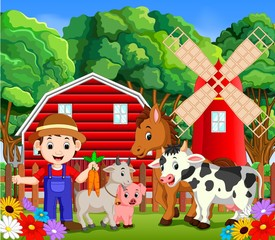 Fototapeta Farm scenes with many animals and farmers