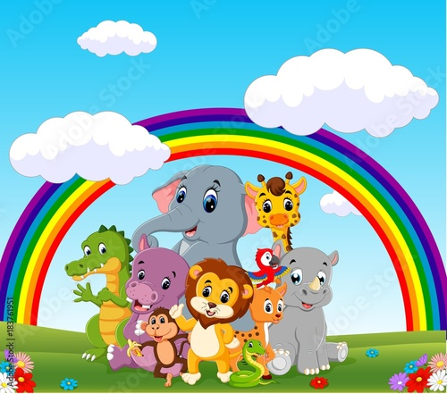 Poster Regenboog collection of zoo animals with guide