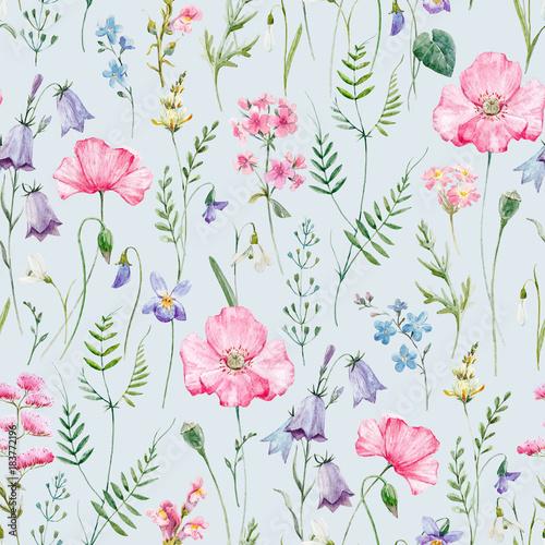 Poster Artificiel Watercolor floral pattern