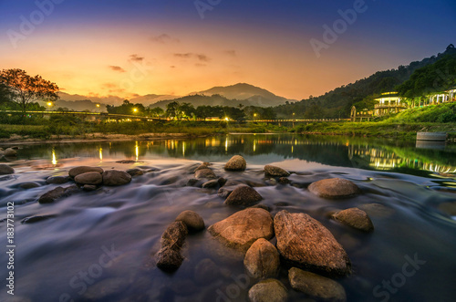 Foto op Aluminium Nachtblauw Landscape of small river and beautiful sunset Keeree Wong Ban Khiri Wong village Nakhon Si Thammarat Thailand