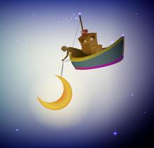 Fairy Boy Holding The Moon On ...