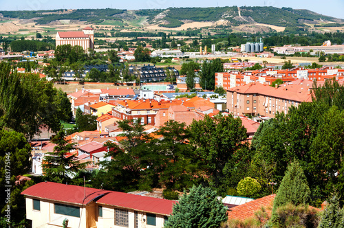 Aerial view of town Palencia in Spain during the day
