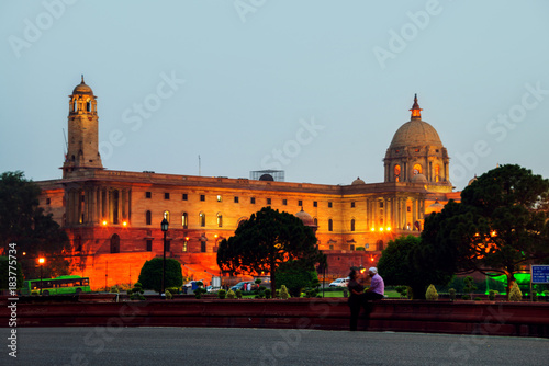 Illuminated Rashtrapati Bhavan an Parliament building in Delhi, India