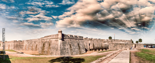Panoramic sunset view of St Augustine medieval castle Wallpaper Mural
