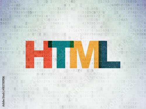 Fotografie, Obraz Database concept: Painted multicolor text Html on Digital Data Paper background