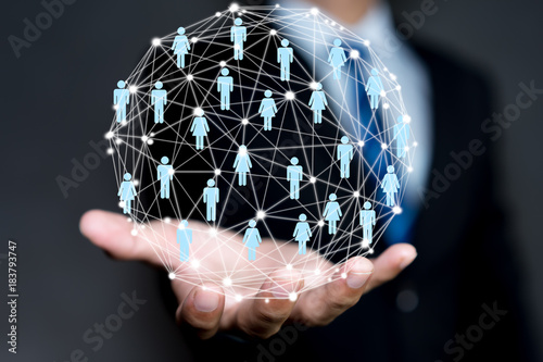 Social Network Interface businessman icon Wallpaper Mural