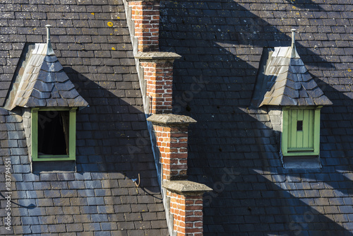 Windows On The Roof Of An Old Meval House