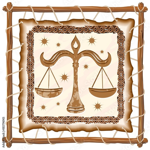 In de dag Draw Libra Zodiac Sign on Native Tribal Leather Frame