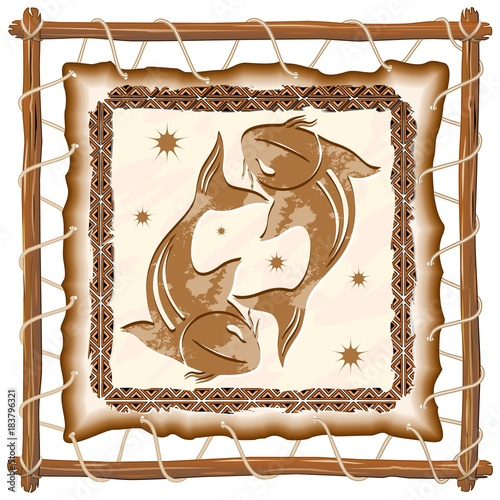 Foto op Canvas Draw Pisces Zodiac Sign on Native Tribal Leather Frame