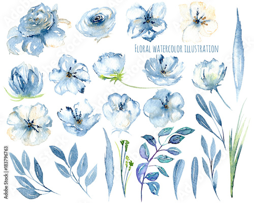 Watercolor blue flowers and leaves floral elements illustrations, hand drawn isolated on a white background, for a greeting card, decoration of a wedding invitation Fototapete
