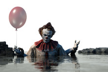 3D Illustration Of Scary Clown Halloween Background