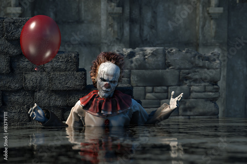 Canvas-taulu 3D Illustration of scary clown Halloween background