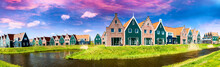 Panoramic View Of Homes Along Volendam Canal, The Netherlands