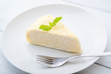 Milles Crepe On White Plate