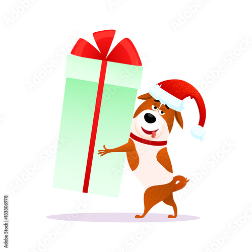 funny cartoon dog with xmas gift in its hands flat character in santa claus hat for christmas or new year 2018