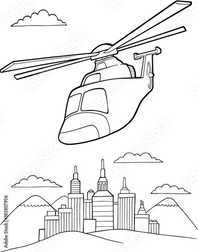Photo sur Toile Cartoon draw Helicopter Vector Illustration Art