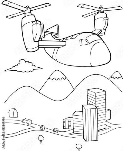 Foto auf Gartenposter Cartoon draw Aircraft Vector Illustration Art