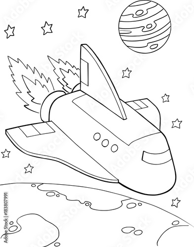 Photo sur Toile Cartoon draw Spaceshuttle Rocket Vector Illustration Art