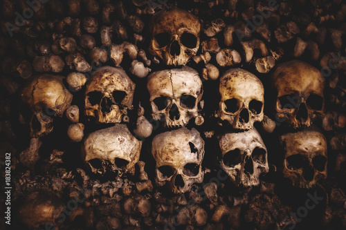 fototapeta na drzwi i meble skulls and bones in Paris Catacombs