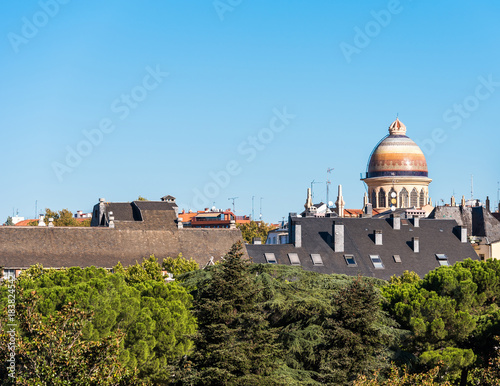 Spoed Foto op Canvas Grijze traf. View of the city buildings, Madrid, Spain. Copy space for text