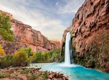Beautiful Blue Waterfall Comin...