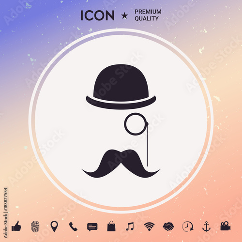 Obraz na plátně Abstract hipster silhouette with bowler hat, monocle, mustach