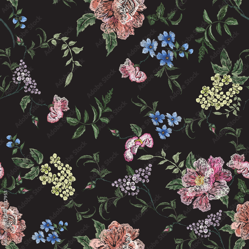 Embroidery floral seamless pattern with rose branch, violets. Vector embroidered elements with flowers for wearing design.