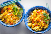 Sweet Fruity Curry Chicken With Pineapple, Red Pepper And Carrot