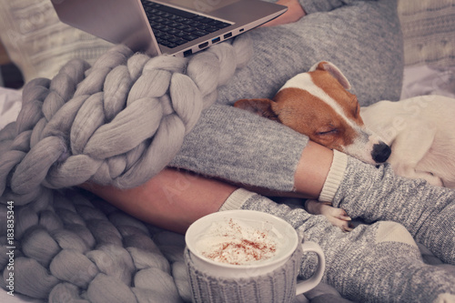 Fotografía  Cozy home, warm blanket, hot drink, movie night
