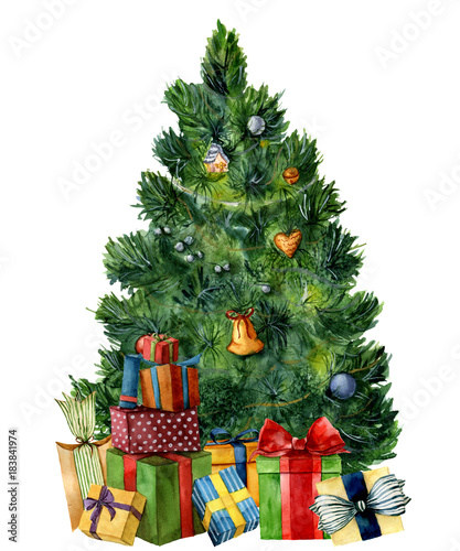 Watercolor Christmas Tree With Giftboxes Hand Painted Pine Tree