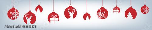Obraz Banner aus verschiedenen Christbaumkugeln - Weihnachten - fototapety do salonu