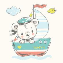 Cute Baby Bear Sailor On The S...