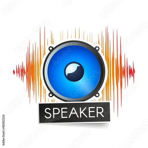 Fotografía  Blue speaker and orange waveforms on white background logo