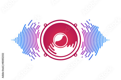 Fotografía  Red speaker and sound waves isolated vector illustration