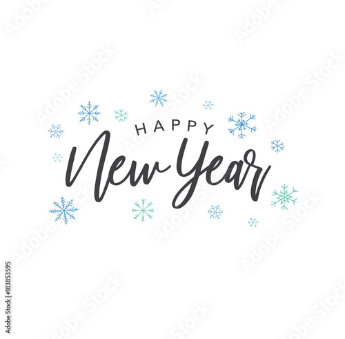 Happy New Year Calligraphy Vector Text With Colorful Hand Drawn Snowflakes Over White Background Fototapete