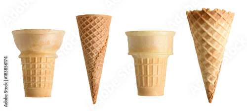 Fotografie, Obraz Collection of empty ice cream cone isolated on white background