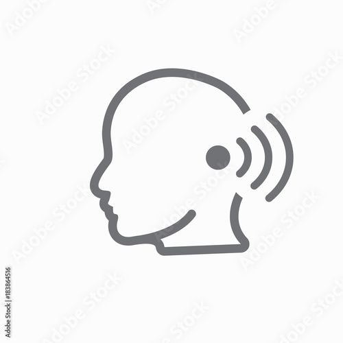 Fotografie, Obraz  Ear and ear canal outline icon image for hearing / listening loss